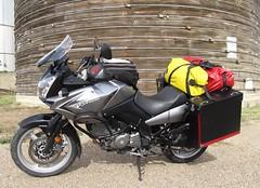 Seen in Chester,Montana (montanatom1950) Tags: chestermontana motorcycletouring vstrom suzuki dl650