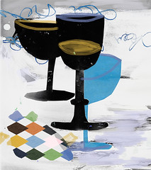 three black champagne cups (amaradacer) Tags: art mixedmedia abstract black champagne cups figurative drink bar collage