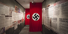 Poland - Krakow - Schindlers Factory - Exhibition_panorama_DSC1164 (Darrell Godliman) Tags: polandkrakowschindlersfactoryexhibitionpanoramadsc1164 swastika nazi nazism display