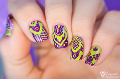 Bold and bright (www.lacqueredobsession.com) Tags: nail art design polish stamping stamp colouralike elcorazn nicolediary rhinestones purple green holographic