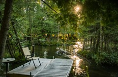 The Chair . . . (Dr. Farnsworth) Tags: river rapidriver chair dock sunset wonderful view healing exercises pt physicaltherapist sun trees reflections fernridge mi summer september2016
