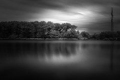 The lake (mbernholdt) Tags: 500px ir long exposure photography monochrome nature nstved powerlines trees denmark infrared lake longexposurephotography naturephotography regionzealand dk