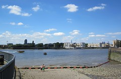 Looking west to Rotherhithe (Andy Worthington) Tags: london clouds docks skies rivers shard riverthames gherkin rotherhithe e14 millwall se16 isleofdogs andyworthington millwalldock theshard