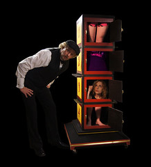 Richard Sherry divides Dayle Krall into four pieces! (Dayle Krall:Most Accomplished Female Escape Artist) Tags: magic richardsherry mismade daylekrall sherryandkrallmagic mismadelady