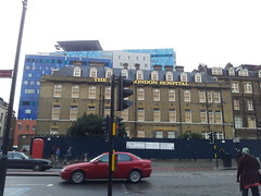 The 'old' Royal London hospital building - with the new Hospital in the background -  Oct 2012 (Carol B London) Tags: hospital oct demolition nhs whitechapel e1 whitechapelroad thelondon oldandnew londone1 newbuild royallondon royallondonhospital rlh newhospital oldhospital londonhospital thelondonhospital oct2012 bartshealth bartshealthtrust