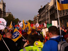 DSCF0088 marching down whitehall (staticgirl) Tags: placard tradeunions oct20 tradeunionbanner antiausterity marchforafuturethatworks