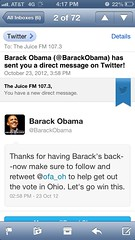 Our direct Tweet from the Obama campaign.