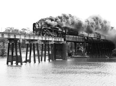 Union Pacific 844 Crosses the San Jacinto River, 11:47 am, October 26, 2012 (Patrick Feller) Tags: up844 union pacific 844 railroad railway train steam engine locomotive smoke bridge san jacinto river humble harris county texas 2012 up 150 express houston locationlocationlocation steel girder black white bw blackandwhite blackwhite monochrome pontist united states north america