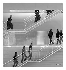 Stairs (oxigenow) Tags: people bw espaa blanco monochrome architecture stairs monocromo spain arquitectura y gente negro olympus auditorio activity 18 cartagena 45mm escaleras omd batel actividad em5