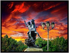 Philadelphia Pa ~ Statue ~  Philadelphia Art Museum (Onasill ~ Bill Badzo) Tags: street sunset sky sculpture art philadelphia lamp museum pennsylvania entrance pa onasill