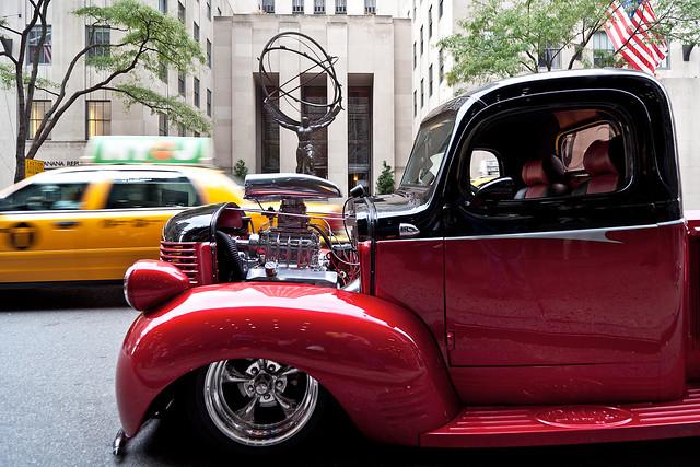 """zeissdistagon21 newyork""""usadodgepickuptruckfifthavenueartdecoatlasmidtownmanhattenrockefellercenterstpatrickschurchnjcdodgepickupnewyorkcitytaxidistagont2 821zereportagecarlzeissdodgepickup1940newyorktaxi"""