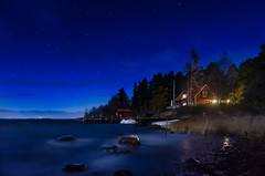 The moonlit bay (Jens Sderblom) Tags: longexposure autumn sea sky moon seascape night stars bay nikon sweden outdoor shoreline windy moonlit shore sverige scandinavia havet archipelago roslagen sigma1750 singo d7000 singfjrden