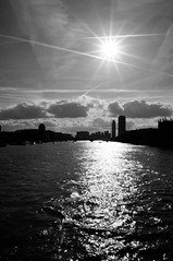 Low Sun from Westminster Bridge (NickD71) Tags: bridge blackandwhite london monochrome westminster thames riverthames lambeth westminsterbridge lowsun autumnsun
