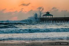 Deerfield Beach Pier After Hurricane Sandy (Tim Azar) Tags: ocean blue sky orange storm beach water clouds sunrise landscape coast pier sand waves florida cloudy tide shoreline shore deerfieldbeach hdr hightide dfine 3exposures deerfieldbeachpier timazar hdrefexpro2 hurricanesandy