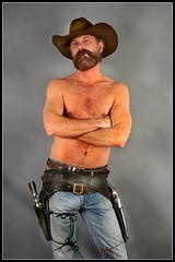 Cowboy Attitude (Cowboy Tommy) Tags: shirtless hairy hot sexy beard model furry smoke manly handsome belts wranglers crotch smoking jeans tight levis holster bulge
