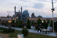 (Karim M) Tags: man square evening iran mosque cart esfahan historicalsite naqshejahan masjedeshah meydaneshah maydaneemam