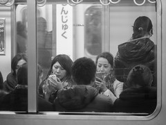 Human aquarium (kasa51) Tags: street city people window station japan train lumix tokyo platform olympus panasonic f28 omd em5 35100mm スマホ