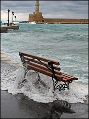 """""""Agua""""  Like a Bench Over Troubled Waters -- Mediterranean Sea, Chania, Crete (TravelsWithDan) Tags: storm water bench bay agua waves ngc crete chania inundated worldtrekker"""