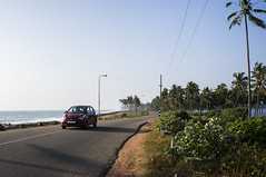 Sea Front Road (wottpal) Tags: ocean road street blue red sea india tree green car honda drive meer waves south kerala varkala palm promenade palme indien baum busch wellen fahrt sden strase