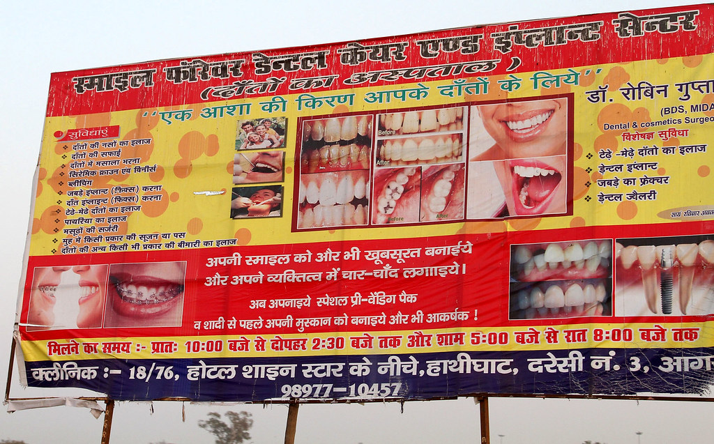 Dental Billboard Cowyeow Tags Street City Red India Sign Mouth Big Funny Braces
