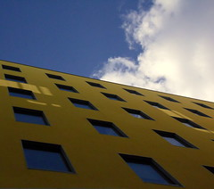 Yellow (Kolini Photo) Tags: new sky sun building yellow architecture jaune bleu ciel nuages neuf reflets nantes 44 immeuble clad architecte yleo