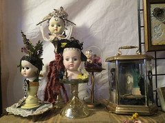 Vintage Oddities (shaire productions) Tags: old inspiration art fashion vintage weird photo doll image artistic crafts arts creative victorian feathers picture fake style pic retro creepy odd creation photograph heads dollheads mechanics imagery adornment steampunk fashionable headpiece maniquin worndown