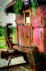 The Red Railcar (sbox) Tags: red railcar railways abandoned rust rusty hdr textures ontario canada