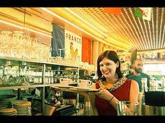 Mike Driscoll 2016 - Katie Amlie (Michael Driscoll Jr.) Tags: red amelie movie film colorful waitress yellow glasses coffee france paris love 2windmills cafe katie