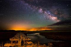 The Night Crossing (Robin-Wilson) Tags: milkyway bridge river stars nikond800 nikon1424mmf28 lightpainting singleexposure lightroom raw colorado distantcity bravo