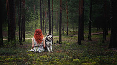 longing reunion (Maria Nenenko) Tags: marinino marininoart art fineart forest nature green vivid colors story storytelling husky dog animal wolf girl beauty woman young red redhair longhair movement firends friendship together surgut russia best pic picture series concept conceptua conceptphotos