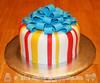Stripes & Bow Birthday Cake