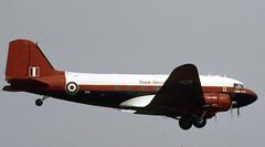 ZA947. RAE Farnborough Douglas C-47A (Ayronautica) Tags: propliner military airshow internationalairtattoo riat egva fairford scanned 1989 july raefarnborough raspberryripple royalaircraftestablishment dc3 dakota douglasc47a za947 ayronautica