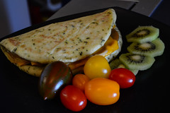 Tofurky, Onions & Cheese on Naan, Mixed Tomatoes, and Kiwi (Vegan) (Vegan Butterfly) Tags: vegetarian vegan food yummy tasty delicious breakfast meal tofurky deli slices lunch meat soy meatless onions earth island cheddar cheese slice melted nondairy tomatoes farmers market kiwi fruit