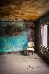 please be seated (Karol Franks) Tags: losangeles ca california brothel chair abandoned seat waiting atlasobscura cartwheelarttours imperialartstudios artsdistrict la building dusty corner window