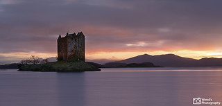 The bewitching Castle Stalker at sunset, Loch Laich, Argyll, Scottish Highlands