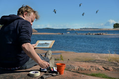 HANKO rock artist (pentlandpirate) Tags: hanko hango finland suomi granite pink artist painter sea