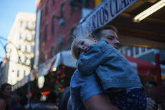 Tired (dtanist) Tags: nyc newyork newyorkcity new york city sony a7 contax zeiss carlzeiss carl planar 45mm manhattan little italy festa san gennaro feast festival italian street fair father child daughter kid carry carrying tired