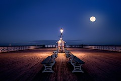 Harvest Moon..birthday edition (Windermere Images) Tags: pier penarth cardiff wales night moon harvest lights fun evening special sea coast