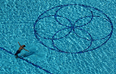 Geometry of Dreaming (jolanta mazur) Tags: swimmingpool swimming water ripples geometry geometricshapes circle circles line blue freedom negativespace minimalism minimalistic highvantagepoint highview viewfromabove birdseyeview telephoto candid
