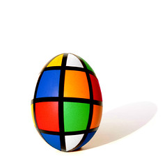 rubik's egg (brescia, italy) (bloodybee) Tags: rubikscube eggs food science mathematics maths geometry colors squares stilllife white shadow humor fun