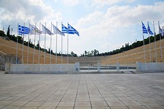 Olympic Stadium (Herculeus.) Tags: 2016 athens athensolympicstadium1896 aug flagsbanners greece stadium 5photosaday outdoor architecture