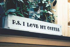I love my coffee (freestocks.org) Tags: architecture box cafe coffee coffeelover decor decorated detail exterior floral flowerpot frame front green lifestyle love ornate outdoor ps plant postscript pot rustic style text view vintage wall white window wooden writing
