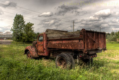 Some Time Ago (HTT) (13skies) Tags: htt happytruckthursday truck truckthursday thursday hdr hwy5 osbornecorners waltersnursery old heap wheels rust rustbucket doors sitting relic classic clouds red