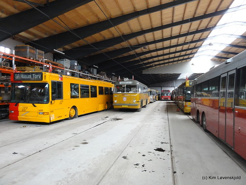 Preserved buses in stock at the Tram Museum
