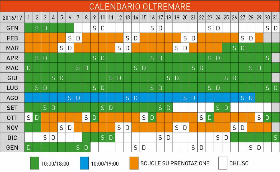 Calendario e orari apertura Oltremare di Riccione