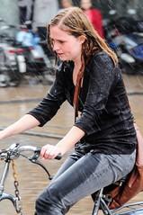 bad weather-2078.jpg (105mm) Tags: street people girl rain bike groningen stad fiets mensen