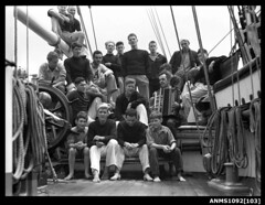 Crew members of a three-masted ship JOSEPH CONRAD (Australian National Maritime Museum on The Commons) Tags: ship harbour sydney crew sydneyharbour josephconrad trainingship harbourscenes williamhall crewmen andrewlindsay alanvilliers williamhallcollection