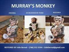 MURRAY'S MONKEY (CLender) Tags: broken ceramic monkey mail snail ground ups clay delivery pottery usps shipping fedex sax insurance dhl airmail snailmail overnight kinkos federalexpress porcelin fedexkinkos murraylender