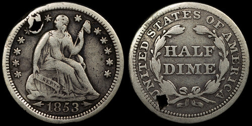 1853 Liberty Seated Half Dime (with arrows)