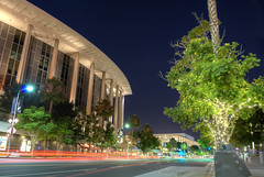 L.A. Music Center (Panas Photography) Tags: city urban music art trafficlight culture nightscene downtownla musichall auditorium citystreet musiccenter traillight streetofla